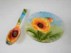 Hand-painted plate and spoon