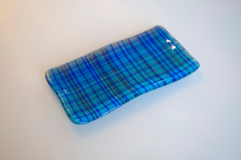 Blue plaid plate of bubbles