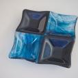 Glittery blue four-square dish