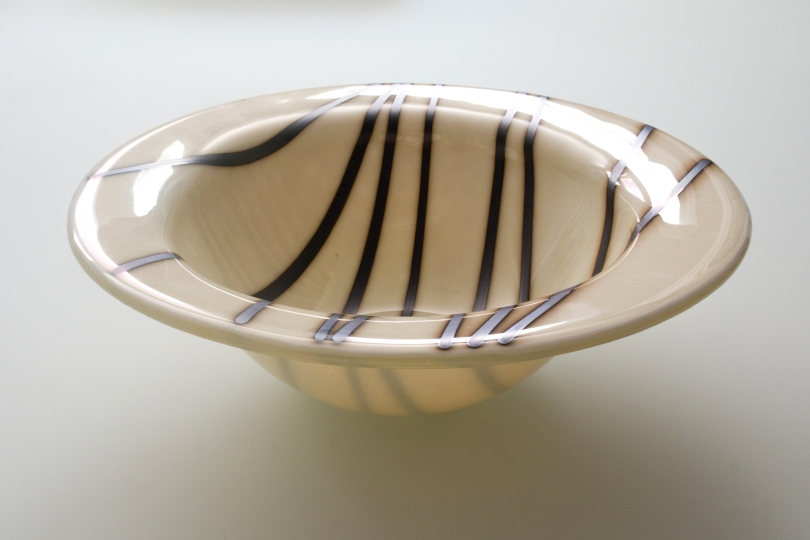 "9.5"" steel blue striped bowl"