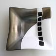 Black, white, metallic square bowl