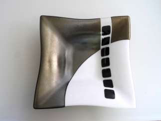 Black, white, metallic square bowl
