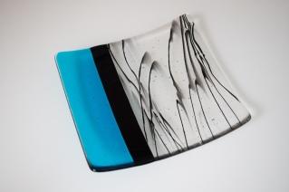 "8"" aqua plate with black drizzle"