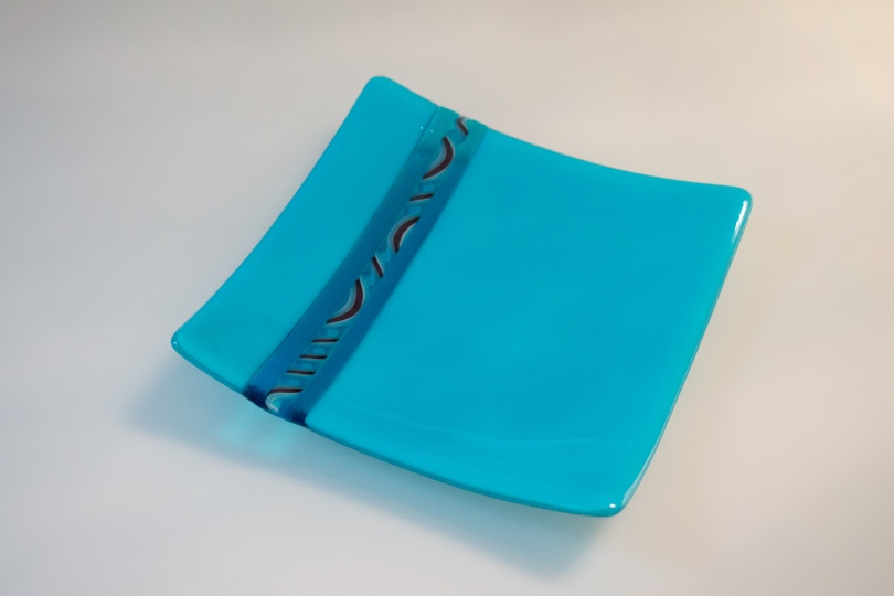 8x8 turquoise plate with twisted cane detail [SOLD]