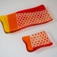 Set of orange polka dot plates