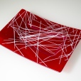 Matte red platter with white scattered lines
