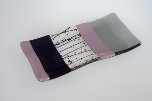 """8x4"""" grey and purple striped plate"""