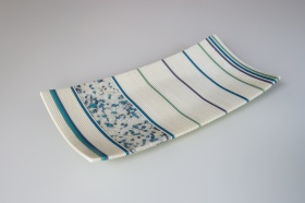 "14x9"" strip constructed platter with cyan river rocks"