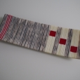 "14"" strip constructed platter in white/dark brown streaky glass and French Vanilla with red accents"