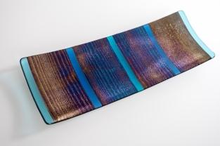 "14x7"" metallic platter of black iridescent glass"