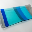 "9x4"" striped plate in transparent light silver gray and various blues"