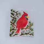 Hand-painted cardinal ornament using Colors for Earth glass enamels