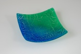 7x7 Crackle dish in Egyptian blue and jade green gradient