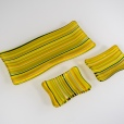 2mm lines of yellows of greens in a matching set of sushi plates (4x9, 3x4)