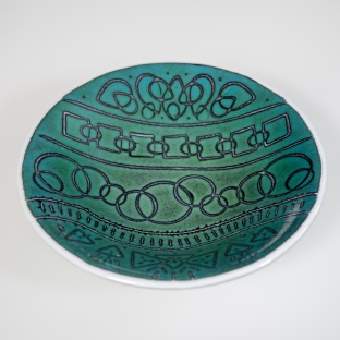 "9"" ""batiky"" bowl in jade on white sheet glass"