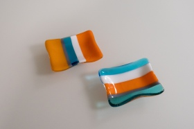 "3x4"" striped dishes of Caribbean blues and oranges"