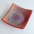 "7x7 ""batiky"" candy bowl on red"