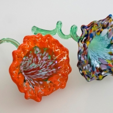 Blown glass flowers created at the Corning Museum of Glass
