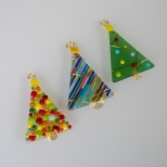 Assorted tree ornaments with gold wire